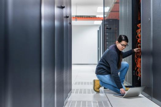 Woman in data centre