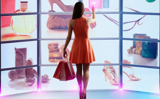 Female in orange dress shopping