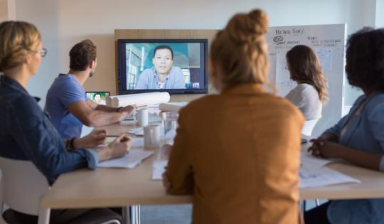 Young professionals in video conference